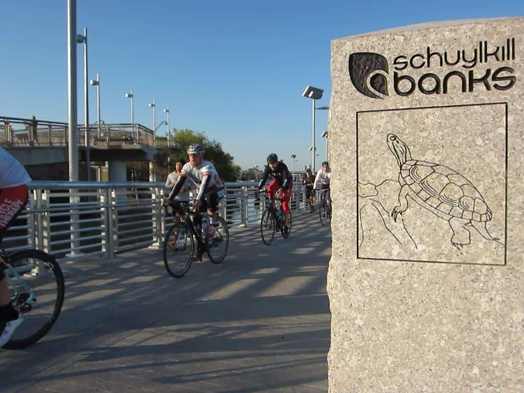New river trail boardwalk turtle sign bikes