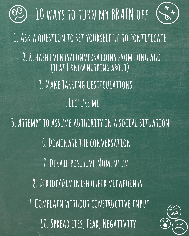 EastFallsLocal chalkboard list of 10 ways to turn my brain off