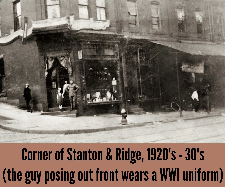 EastFallsLocal corner of Ridge STanton 1920s 30s text brown background