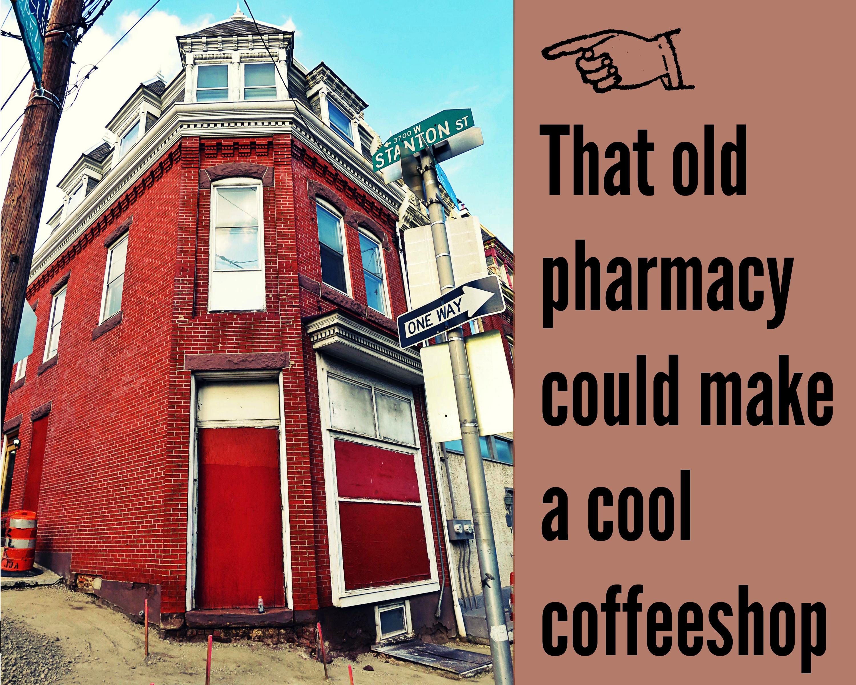 EastFallsLocal corner of Ridge STanton NOW old pharm make cool coffeeshop text brown background