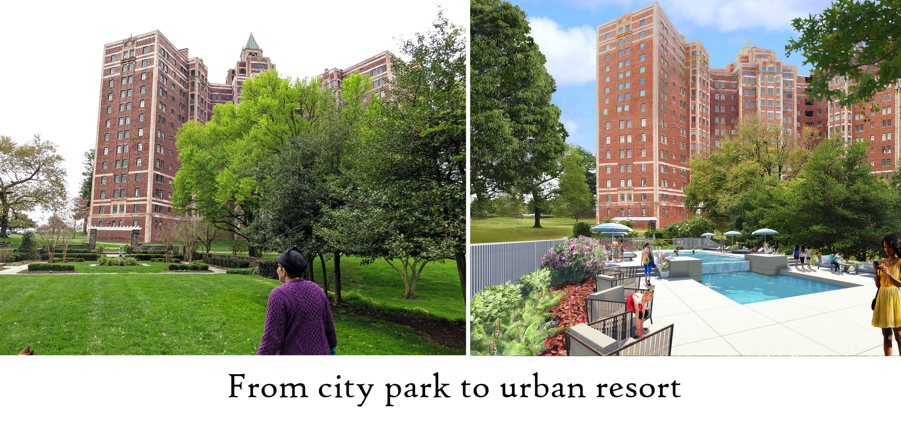 Eastfallslocal city park to urban resort collage text
