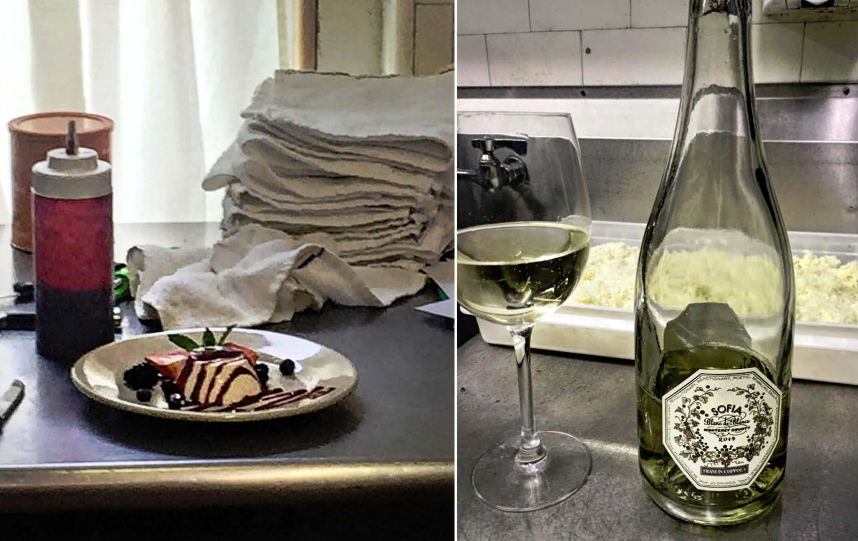 Eastfallslocal collage fiorino franco cooking panna cottta wine