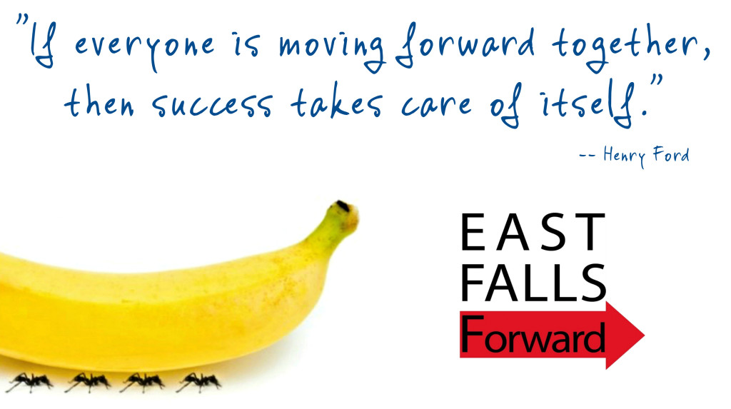 EastFallsLocal if everyone is moving forward together banana EFF logo