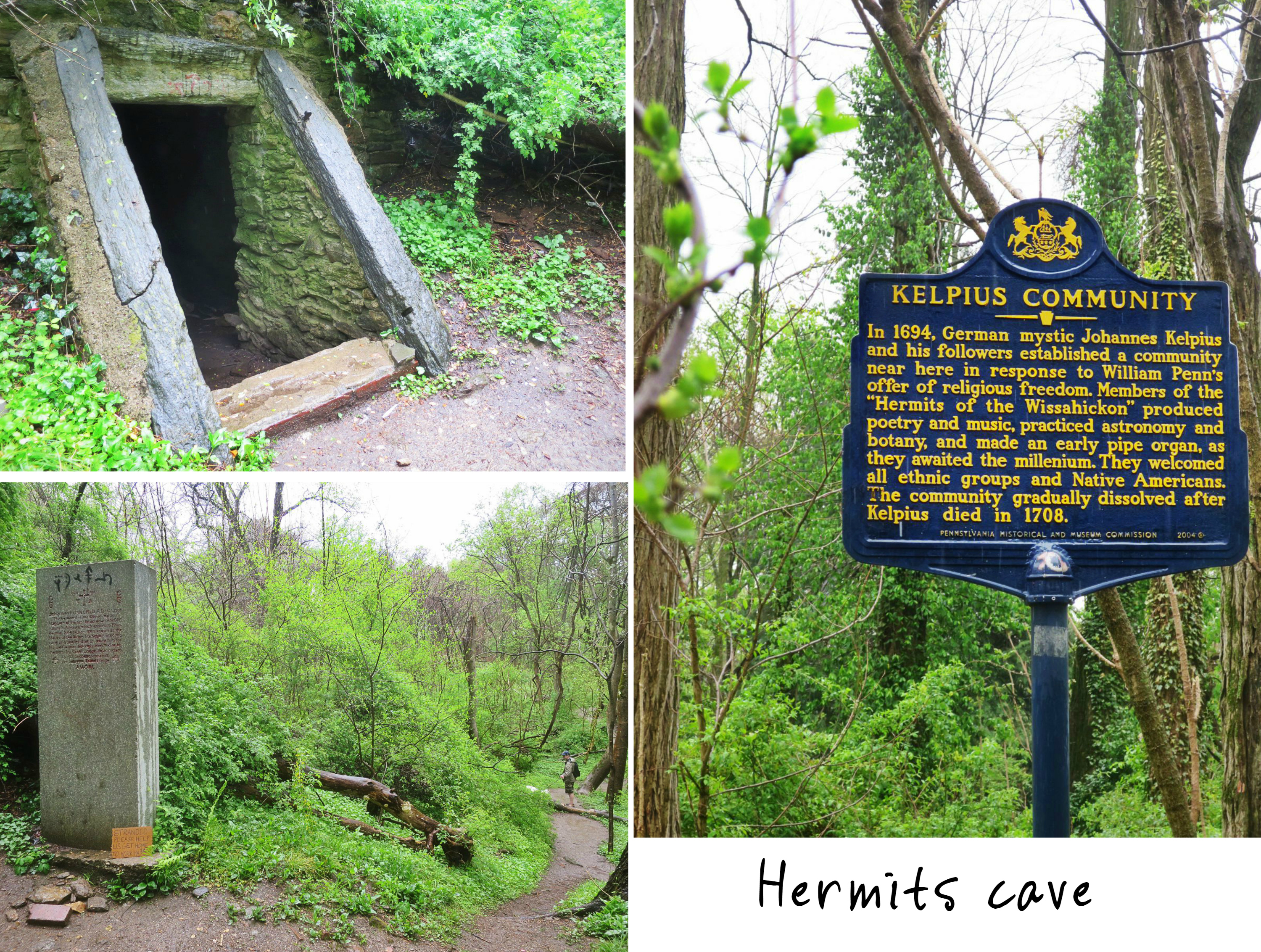 EastFallsLocal 4-23 Wissahickon Hermis Cave collage