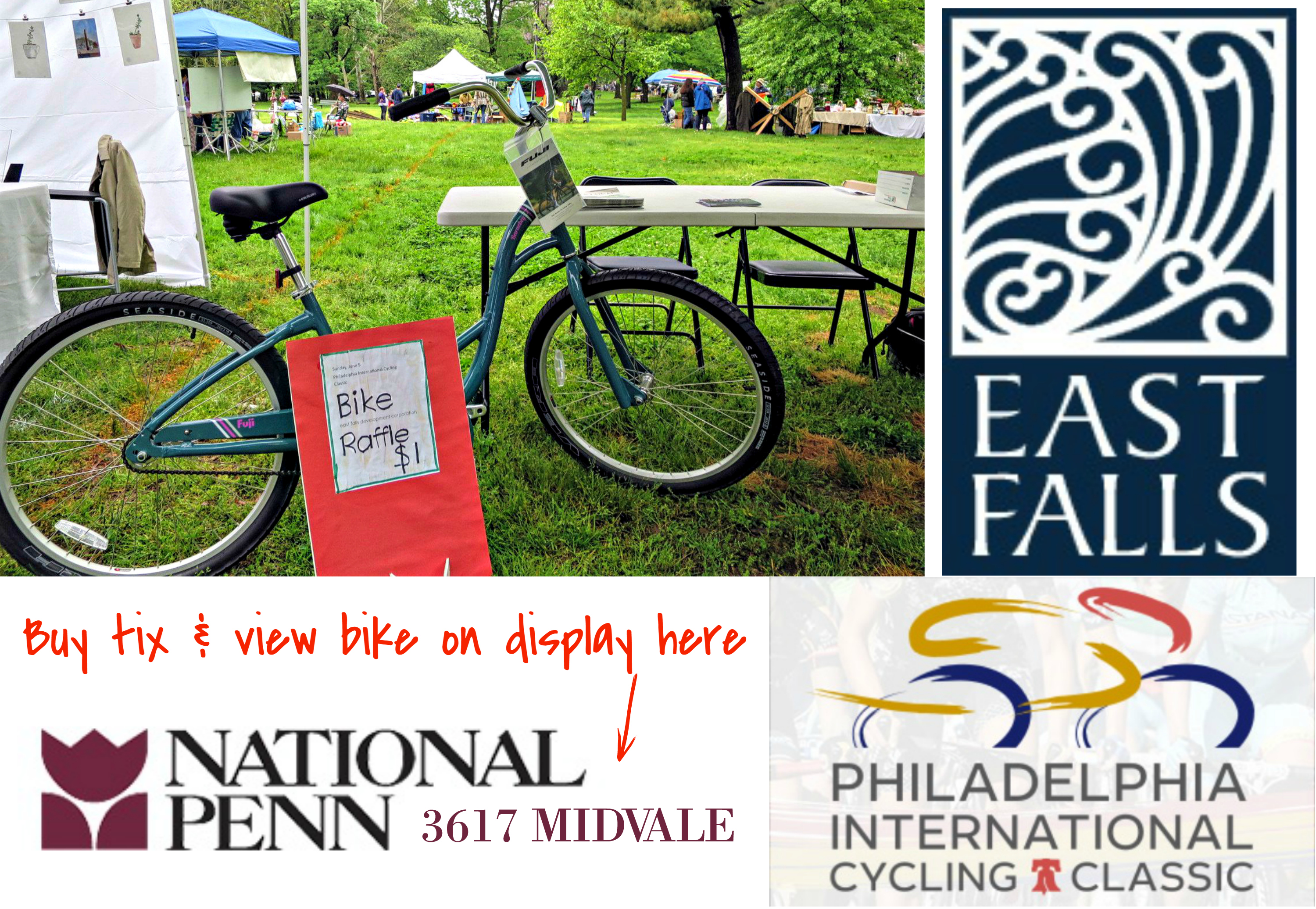 EastFallsLocal bike raffle at falls flea
