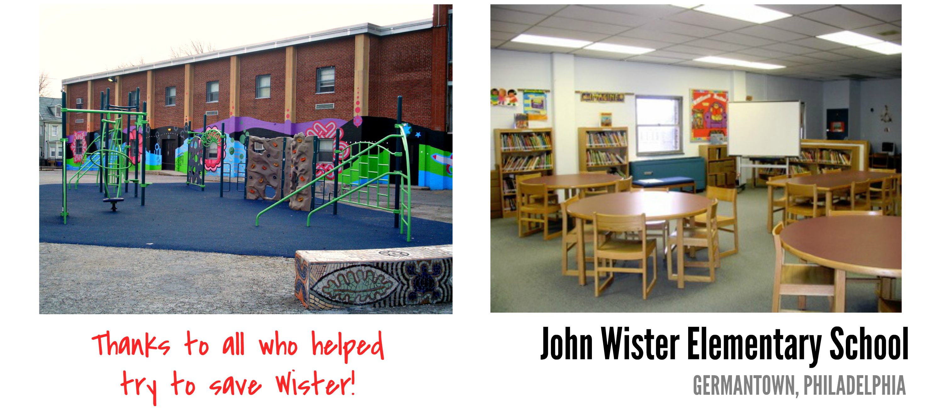 Eastfallslocal John Wister Elementary School collage thanks to all text