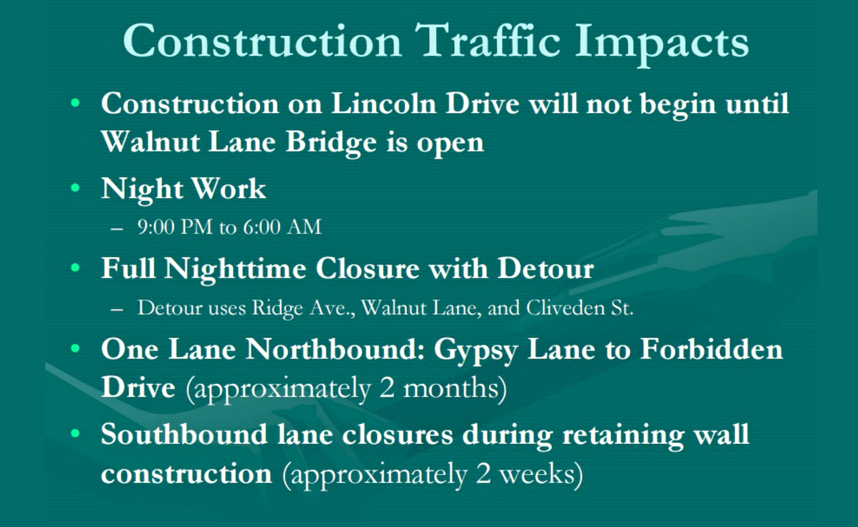 EastFallsLocal Streets Dept Lincoln Drive detour 2016 dates details