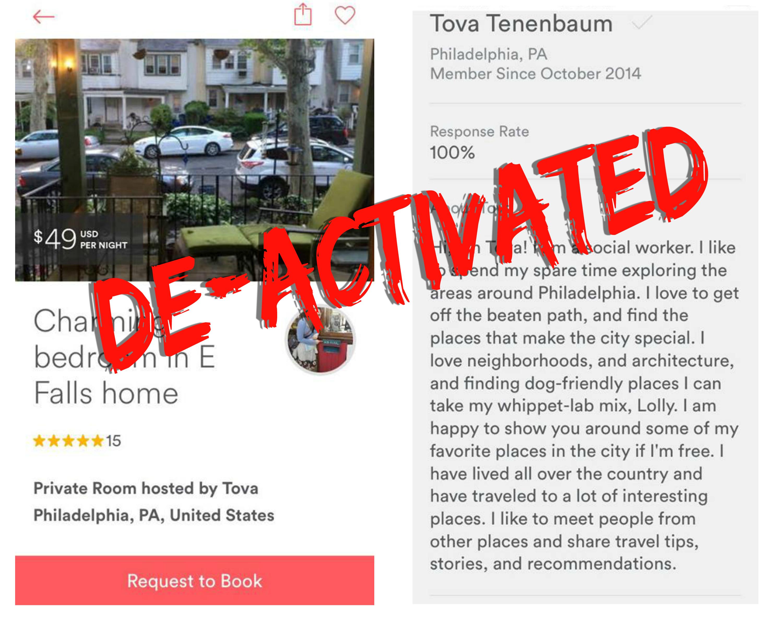 EastFallsLocal Tova airbnb listing DEACTIVATED