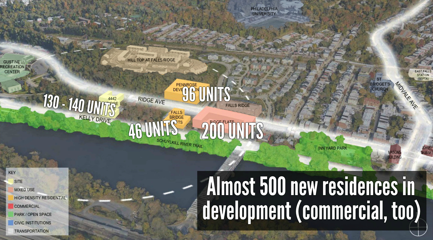 EastFallsLocal text pop up map collage almost 500 new residences in development color